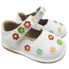 White Squeaky Shoes Girl Small Flowers