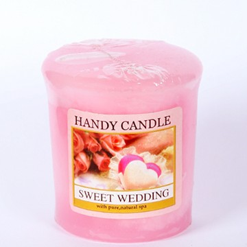 Colorful rose scented votive pillar candles with various theme