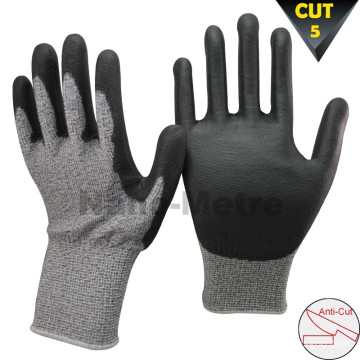 NMSAFETY cut level 5 knife cut resistant gloves coated pu cutting glove soft style