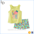 2017 Fashion Kids Clothes Summer Sets Wholesale Children's Boutique Clothing Sets with Sleeveless Shirt and short Pants