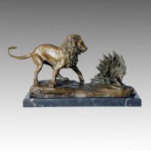 Statue animale Lion & Porcupine Bronze Sculpture, Milo Tpal-112