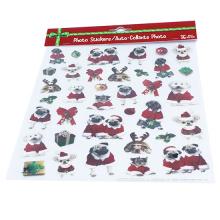 Autocollants statiques pour enfants mignons de chien de dessin animé de Noël