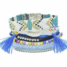 Gets.com 2015 Fashion Brazilian Bracelet skype blue seed beads tassel bracelet