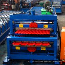 Vollautomatische Dachdoppelschicht verzinken trapezförmige Stahldach-Rollformmaschine