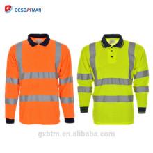 Vestuário de trabalho de alta visibilidade roupa de segurança reflexiva En 20471 Classe 3 Manga Longa Hi Vis Camisa Polo Amarelo Laranja