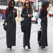Autumn and Winter Fashion Women Long Fleece Coat