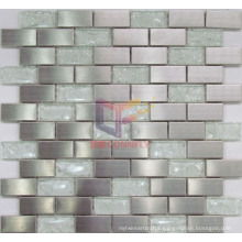 Grind Face Stainless Steel with Cracked Crystal Mosaic Tiles (CFM835)