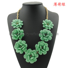 Colorful Resin Flowers Charms Necklace For Women