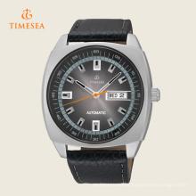 Reloj de pulsera mecánico automático para hombre de calendario de cuero negro casual 72247