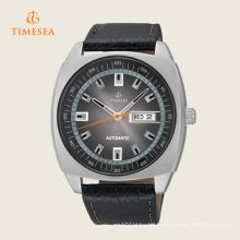 Casual Black Leather Calendar Automatic Mechanical Mens Wrist Watch 72247