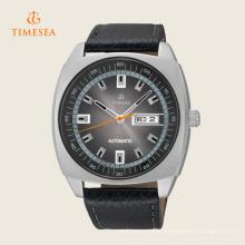 Relógio de pulso mecânico automático 72247 dos homens do calendário preto ocasional do couro