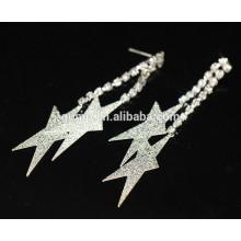 Großhandel Star Shaped Braut Silber lange hängende Kristall Ohrstecker