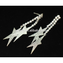 Venta al por mayor en forma de estrella de plata nupcial de largo pendientes pendientes de cristal de perno prisionero