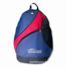 Backpack with Two Zipper Pulls and One Rubber Earphone Hole, Bottom Measuring 39 x 47 x 12cm