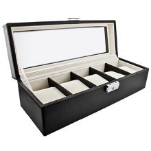 Cas de montre de stockage en cuir classique cinq (HX-A0758)