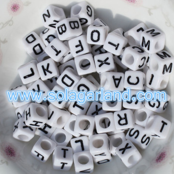 4x7mm Acrylic Individual Alphabet Letter Square Cube Beads A-Z