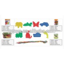 2016 barato plástico threading brinquedos para crianças