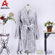 100% polyester bottom print animal cut coral fleece women bathrobe