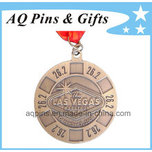 Gold Marathon Medal with V Shape Ribbon