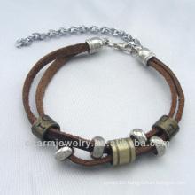 2014 fashion Brown leather Alloy Charm bracelet BGL-052