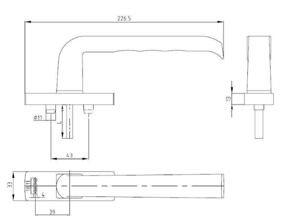 Multi-points Aluminum Window Lock Handle Drawing
