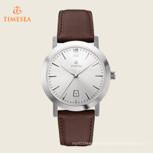 Timesea Stainless Steel Watch with Brown Leather Band 72518
