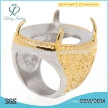 2015 nouveau produit anneaux or indonésie sans pierres pour homme
