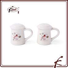 Maßgeschneiderte Logo Großhandel weiße Keramik Salz und Pfeffer Shaker Set
