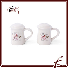 customized logo wholesale white ceramic salt and pepper shaker set