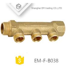 EM-F-B038 Gewinde Messing 3-Wege-Verteilerrohr