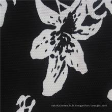 Tissu Jersey 100% Coton Lycra Noir Impression Numérique