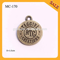 MC170 High quality antique brass round shape small custom metal jewelry tags with engraved letters