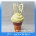 Kitchen decor ceramic utensil holder in icecream shape