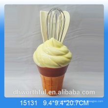 Kitchen decor ceramic utensil holder in icecream shape