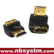 HDMI Um tipo macho para adaptador fêmea, ângulo de 90 graus