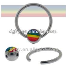 Stainless steel Rainbow Gay Pride Captive Bead Rings jewelry