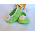 Green handmade Crochet Baby Girl Shoes Ballerina flower