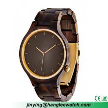 O ébano de madeira natural do relógio do OEM olha a tabela de madeira verde