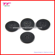 Black Plastic 4 Holes Shirt Button