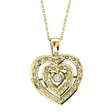 18k Gold Double Heart Dancing Diamond Pendants Jewelry