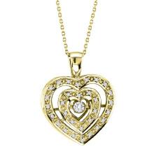 Jóias de pingente de diamante de diamante duplo de ouro 18k