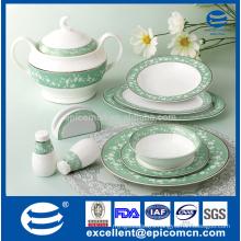 34pcs embossed flower patterned new bone china table dinner service