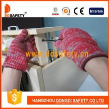 Gants tricotés en coton mélangé rouge et gris de calibre 7 Dck512
