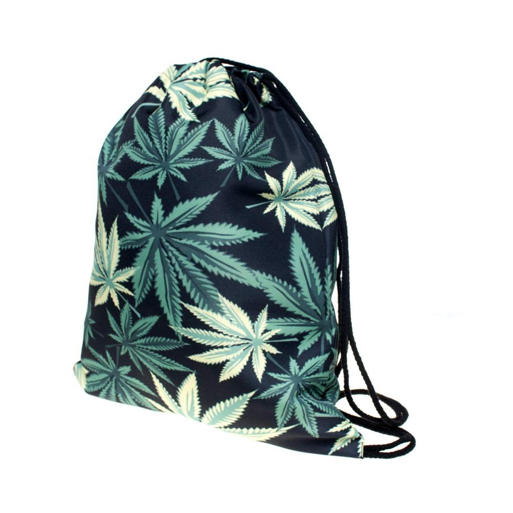 Green Leaf Drawstring Bag 1