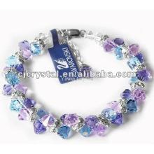 Colorido facetado pérolas de cristal pulseiras, pulseiras de contas de vidro