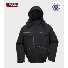 waterproof & breathable mens winter bomber jacket safety workwear jacket with reflective pipe