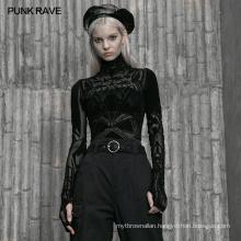 PUNK RAVE OPT-462TCF sexy hollow outsee through mesh Girl series base top women plus size bodycon T-shirt