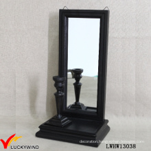 Wall Mounted Black Wooden Mirror Candle Holder