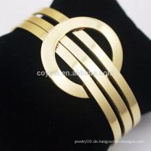 Kundenspezifische Edelstahl-Schmucksache-Stulpe 18K Goldarmband-Entwürfe Frauen