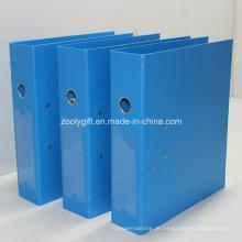 Azul / Preto A4 Folha de Arquivo de Alavanca PP com Metal Edge Protector e Spine Label Pocket
